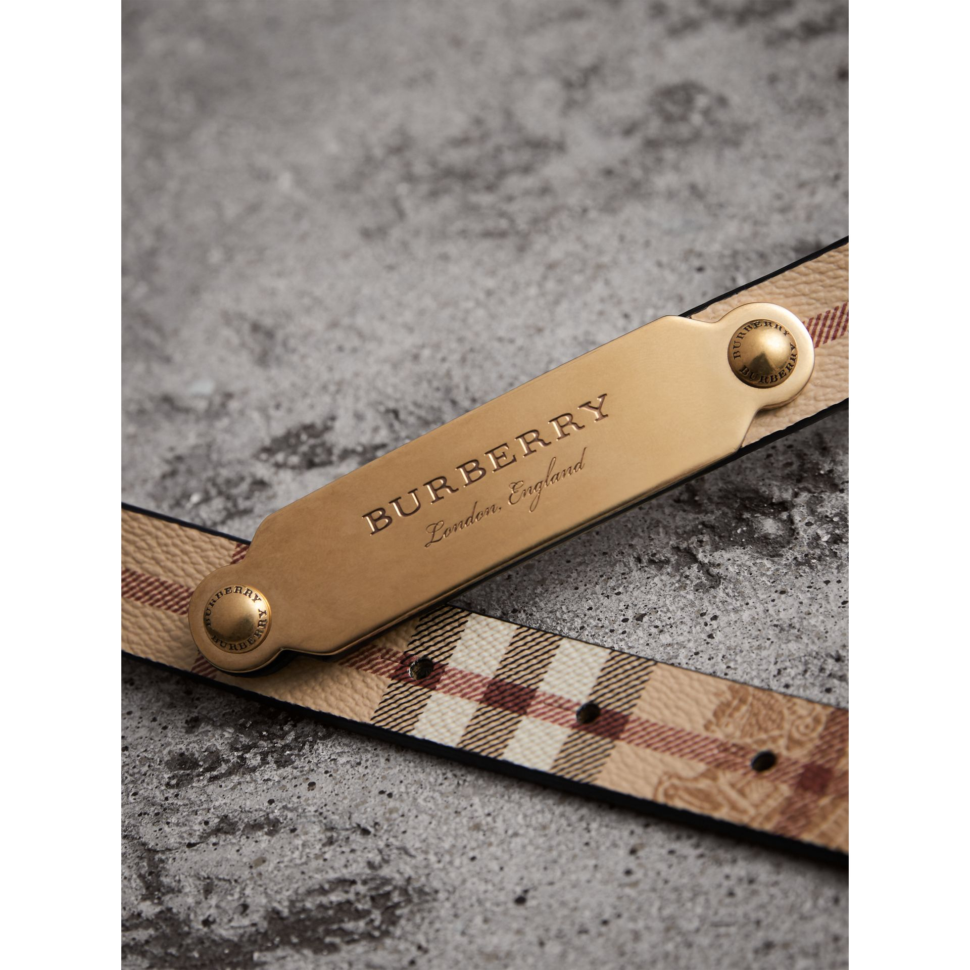 Plaque Buckle Haymarket Check and Leather Belt in Camel - Women | Burberry Hong Kong - gallery image 1