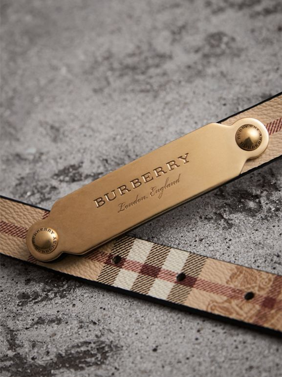 Plaque Buckle Haymarket Check and Leather Belt in Camel - Women | Burberry - cell image 1