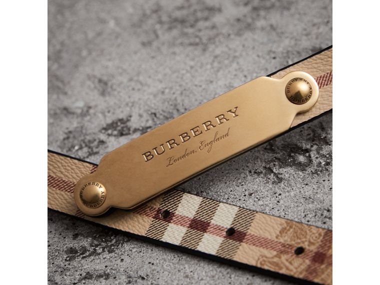 Plaque Buckle Haymarket Check and Leather Belt in Camel - Women | Burberry Hong Kong - cell image 1
