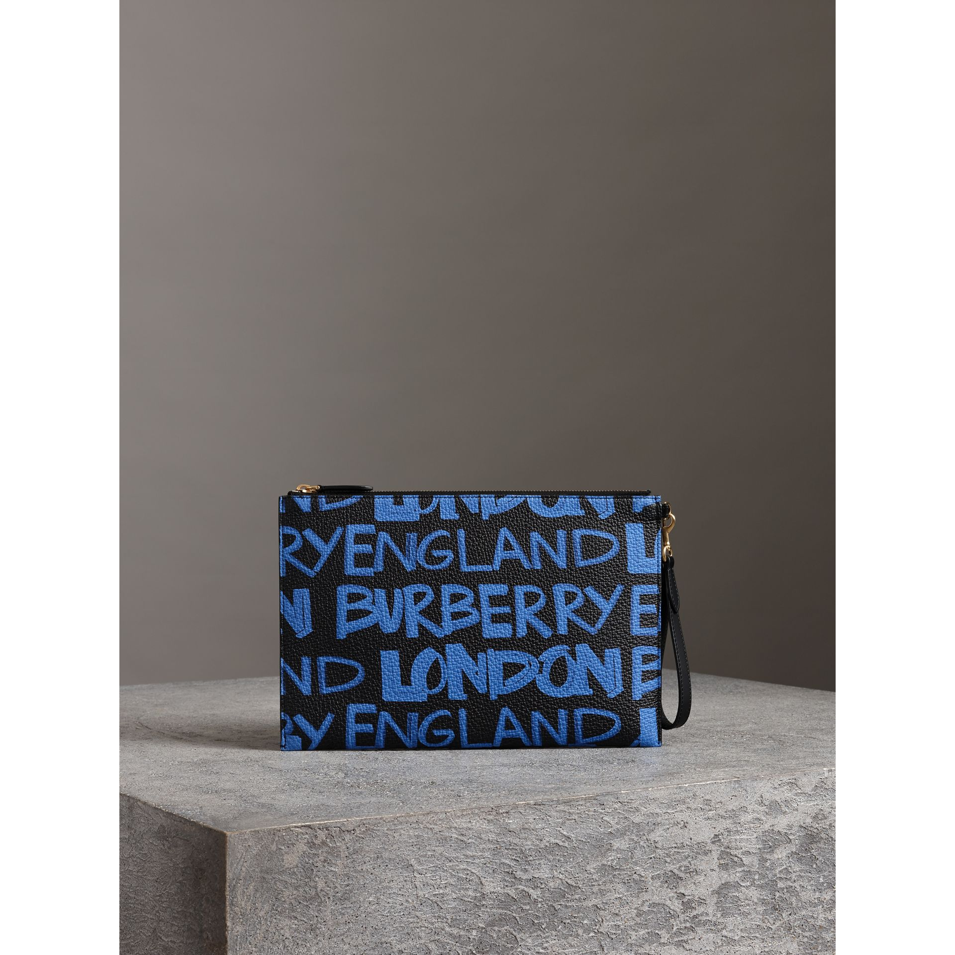 Graffiti Print Leather Zip Pouch in Blue/black | Burberry - gallery image 2