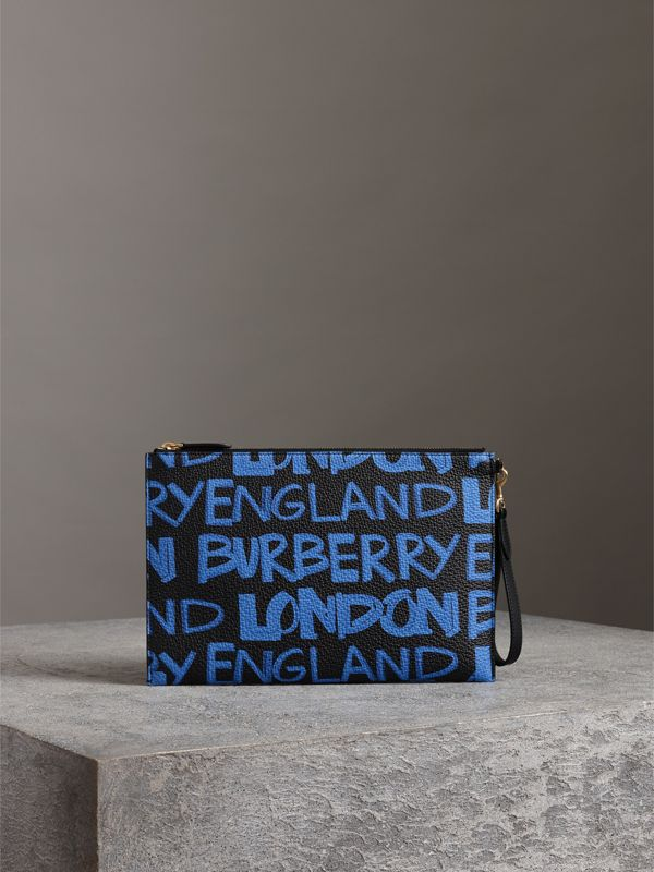 Graffiti Print Leather Zip Pouch in Blue/black | Burberry - cell image 2