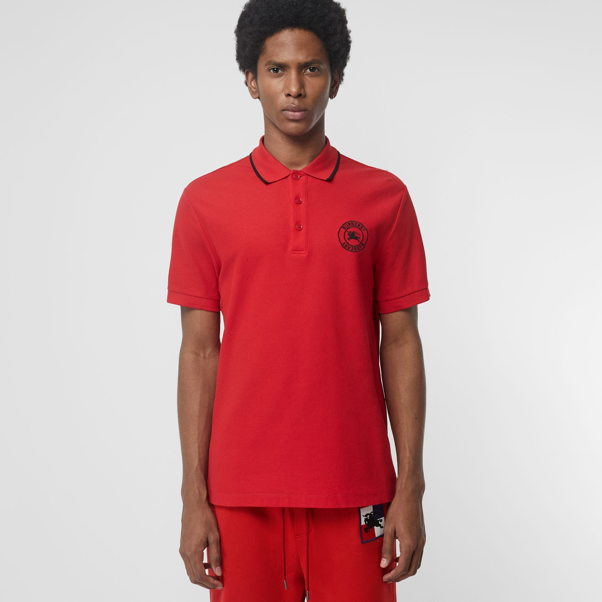 Embroidered Logo Cotton Piqué Polo Shirt in Military Red - Men | Burberry - gallery image 0