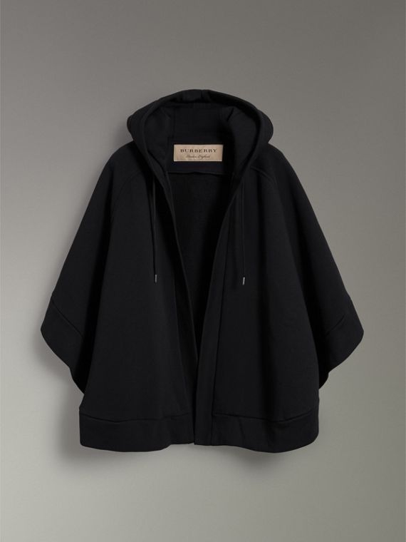 Embroidered Jersey Hooded Cape in Black | Burberry - cell image 3
