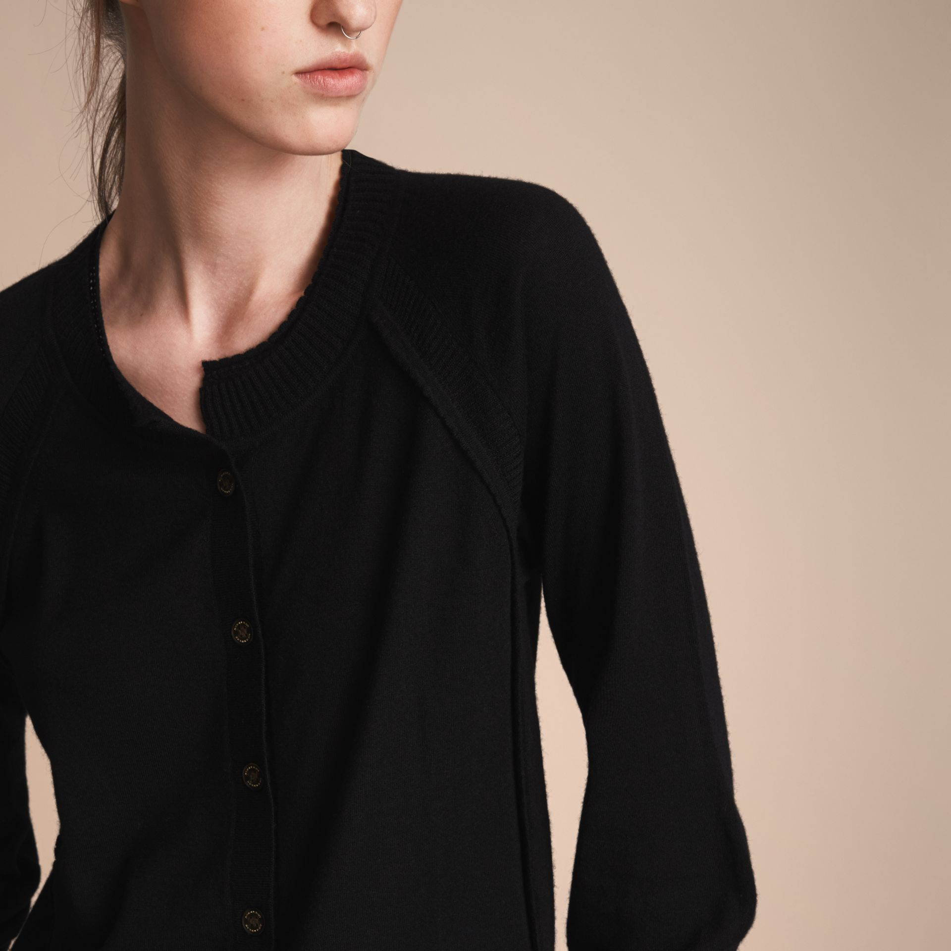 Open-knit Detail Cashmere Cardigan Black - gallery image 5