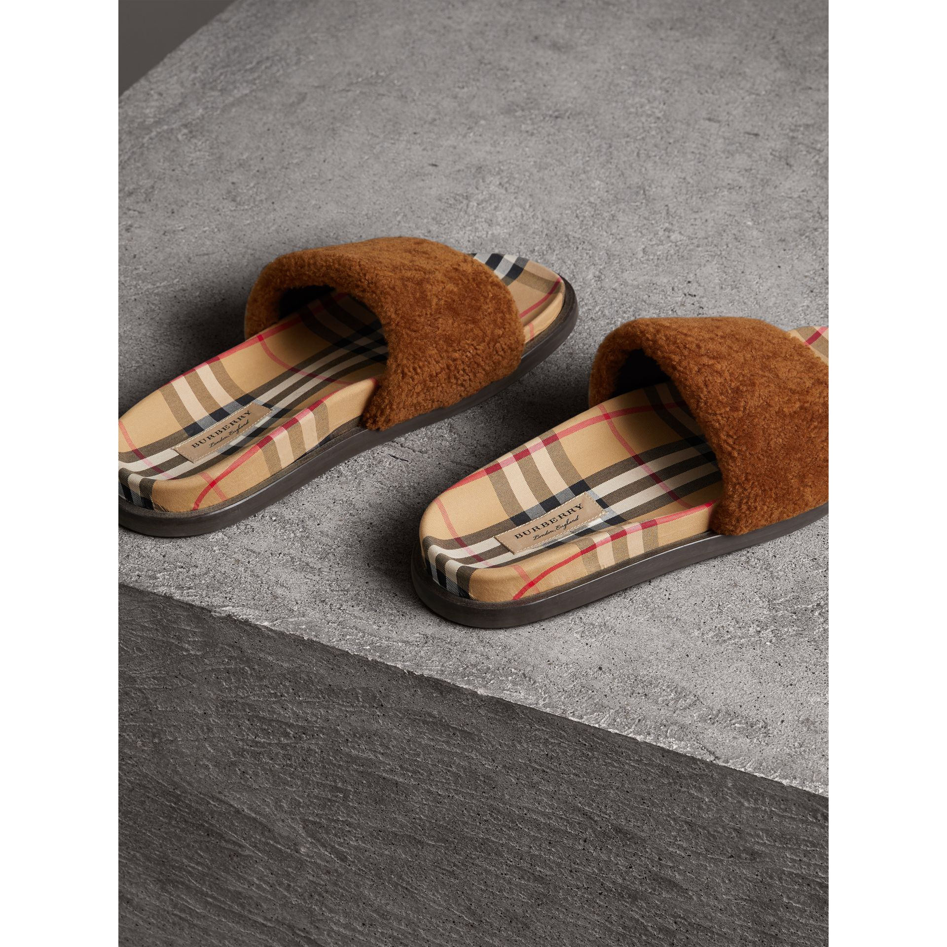 Shearling and Vintage Check Slides in Tan - Women | Burberry - gallery image 3