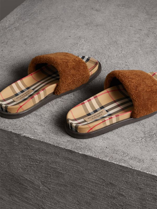 Shearling and Vintage Check Slides in Tan - Women | Burberry - cell image 3