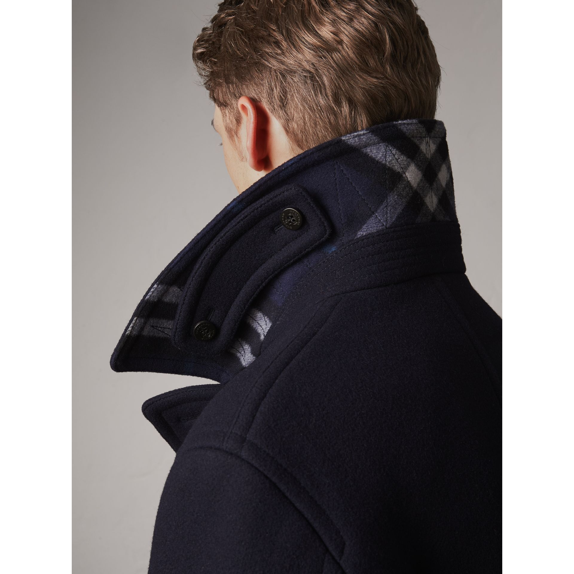 Wool Blend Double-breasted Coat in Navy - Men | Burberry Australia - gallery image 4