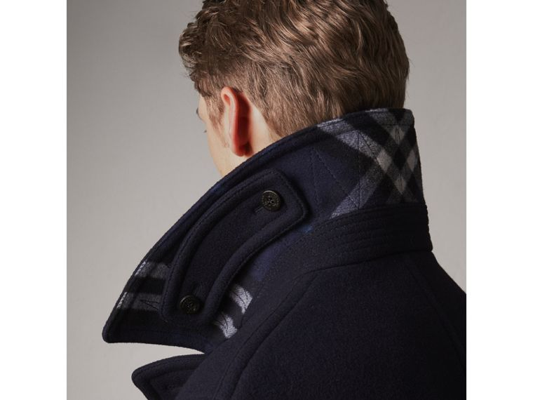 Wool Blend Double-breasted Coat in Navy - Men | Burberry Australia - cell image 4