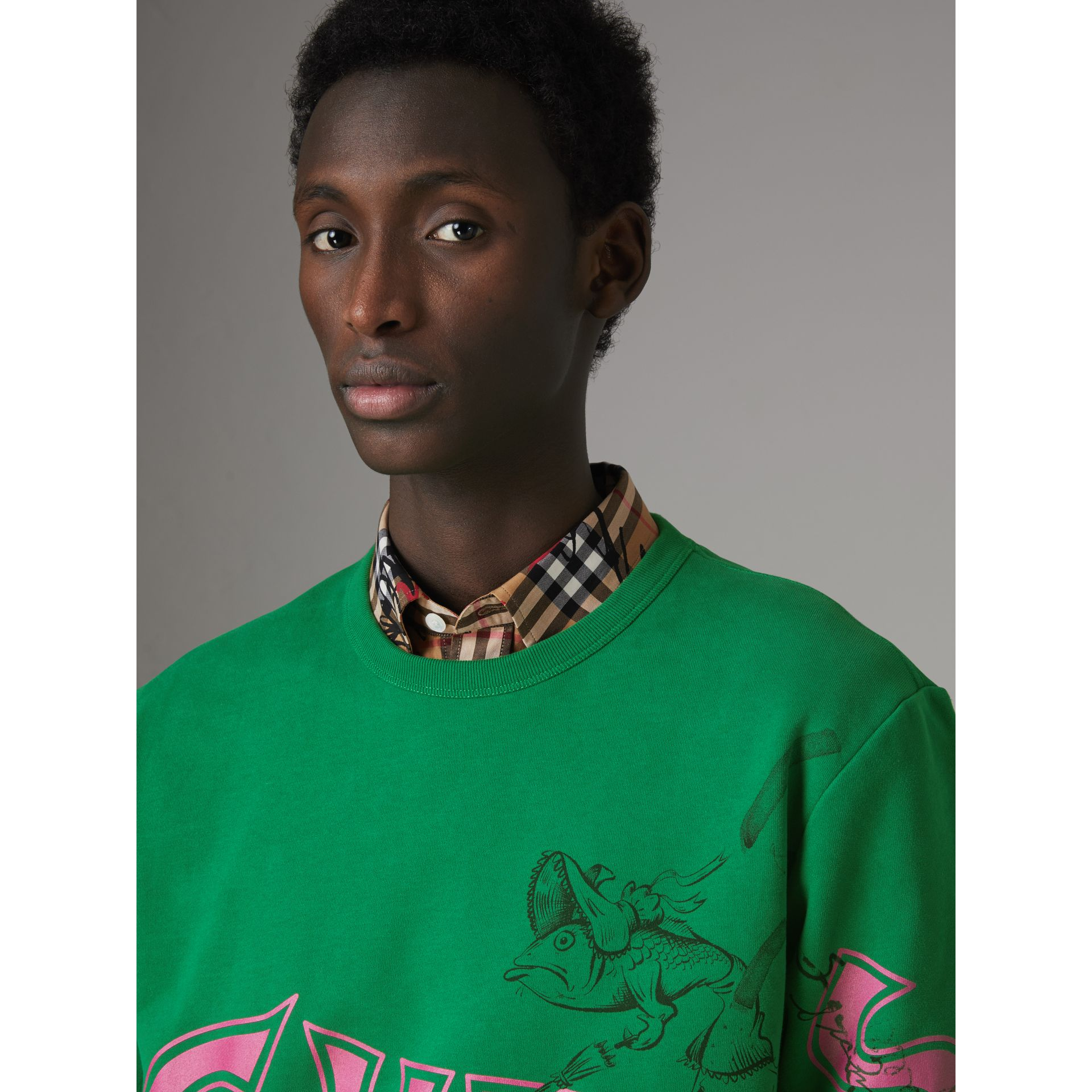 Fish and Chips Print Cotton Sweatshirt in Pigment Green - Men | Burberry - gallery image 1
