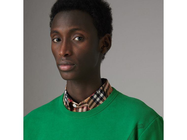 Fish and Chips Print Cotton Sweatshirt in Pigment Green - Men | Burberry - cell image 1