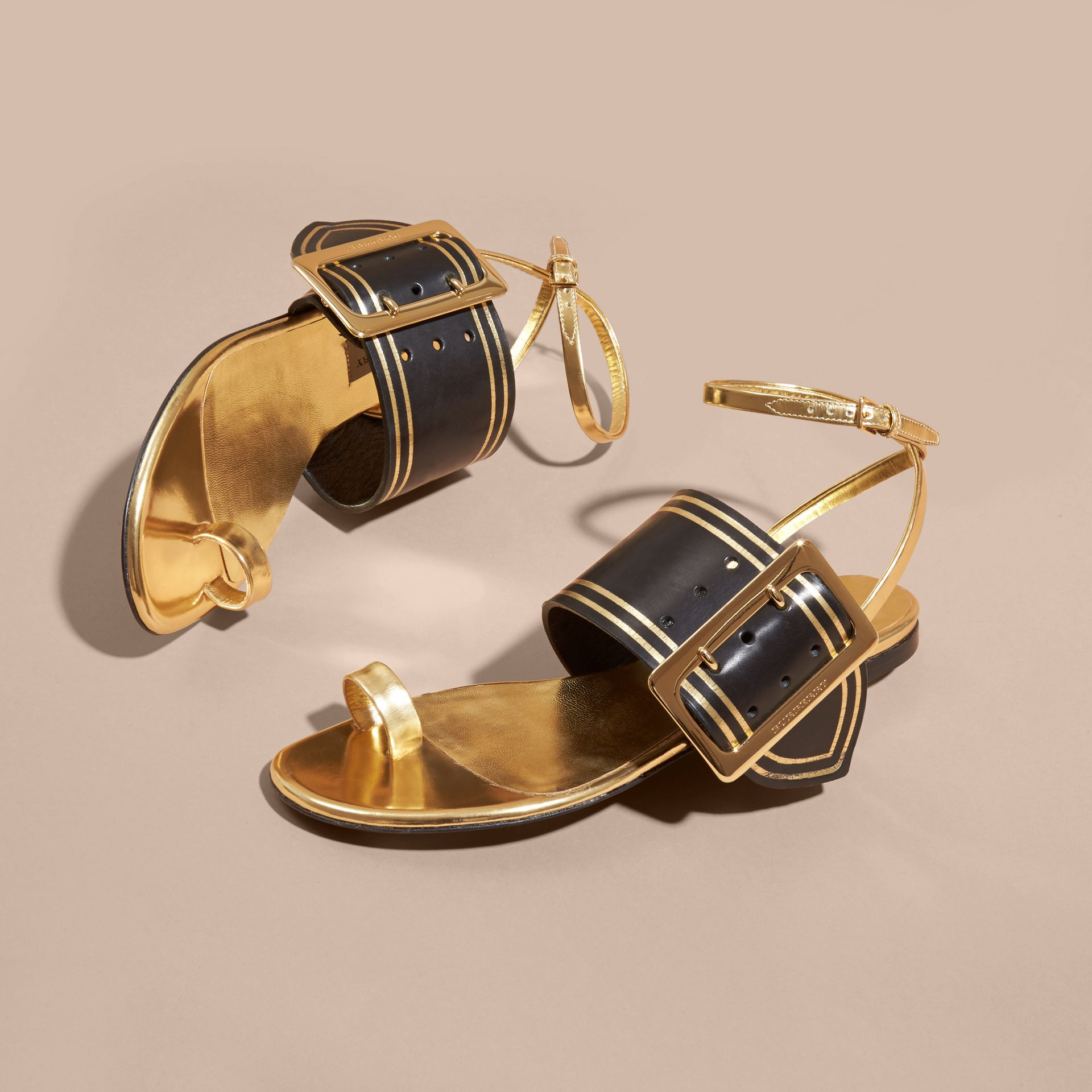Antique gold Two-tone Buckle Detail Sandals - gallery image 3