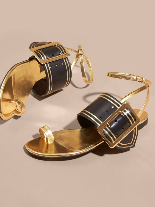 Two-tone Leather Sandals with Buckles in Antique Gold | Burberry United States - cell image 2