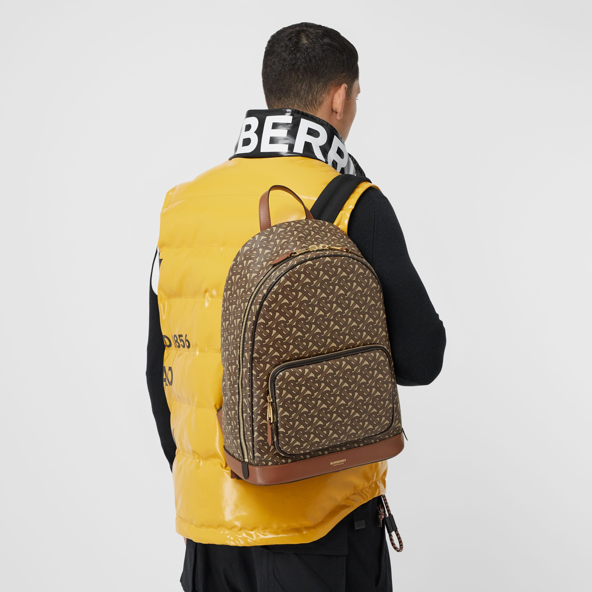 Monogram Print E-canvas and Leather Backpack in Bridle Brown - Men | Burberry - 4