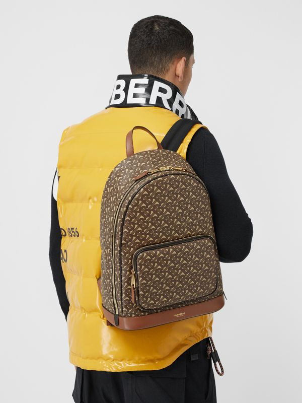 Monogram Print E-canvas and Leather Backpack in Bridle Brown - Men | Burberry - cell image 3