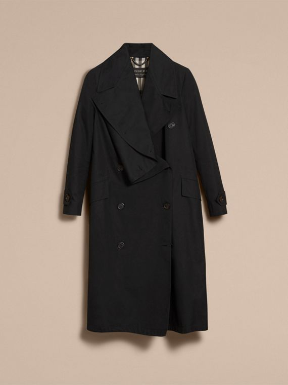 Cotton Gabardine Coat with Curved Closure - Women | Burberry - cell image 3