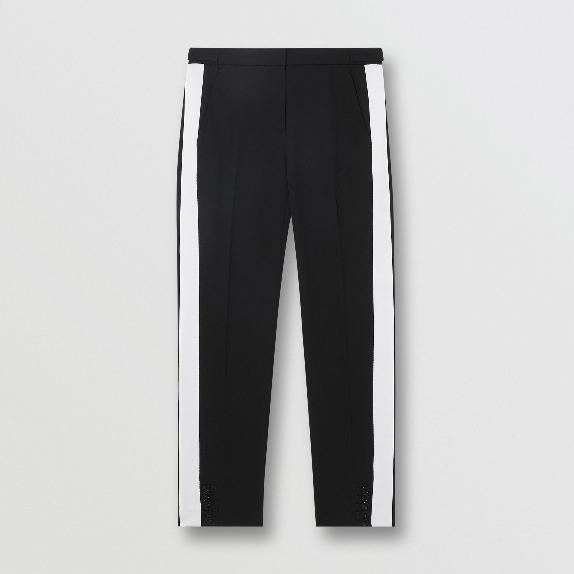 Side Stripe Wool Tailored Trousers in Black - Women | Burberry Singapore - gallery image 3