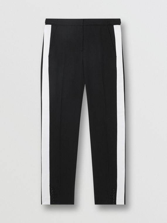 Side Stripe Wool Tailored Trousers in Black