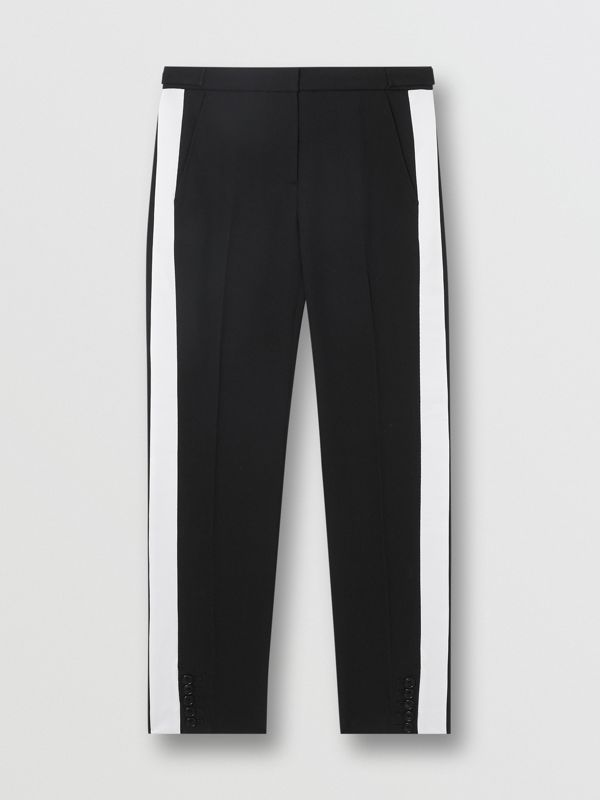 Side Stripe Wool Tailored Trousers in Black - Women | Burberry Singapore - cell image 3