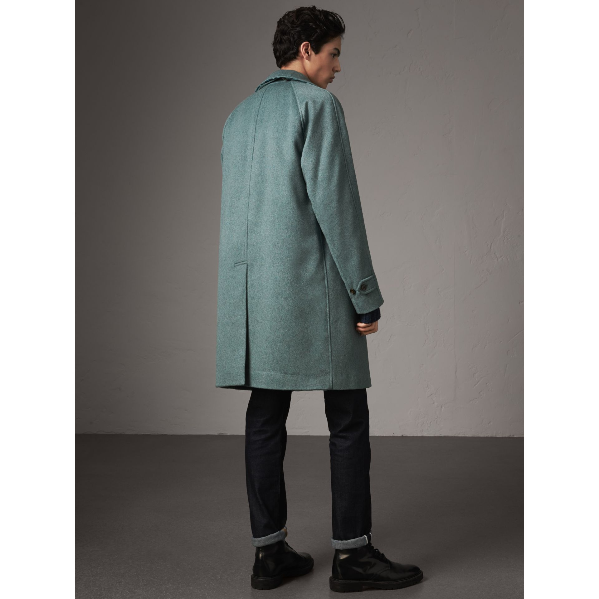 Cashmere Car Coat in Storm Green Melange - Men | Burberry Australia - gallery image 3