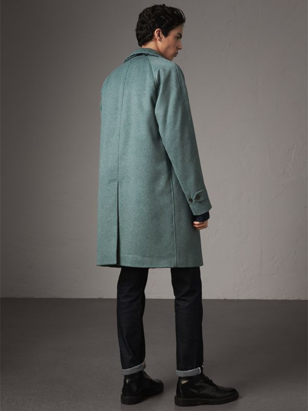 Cashmere Car Coat in Storm Green Melange - Men | Burberry - cell image 2