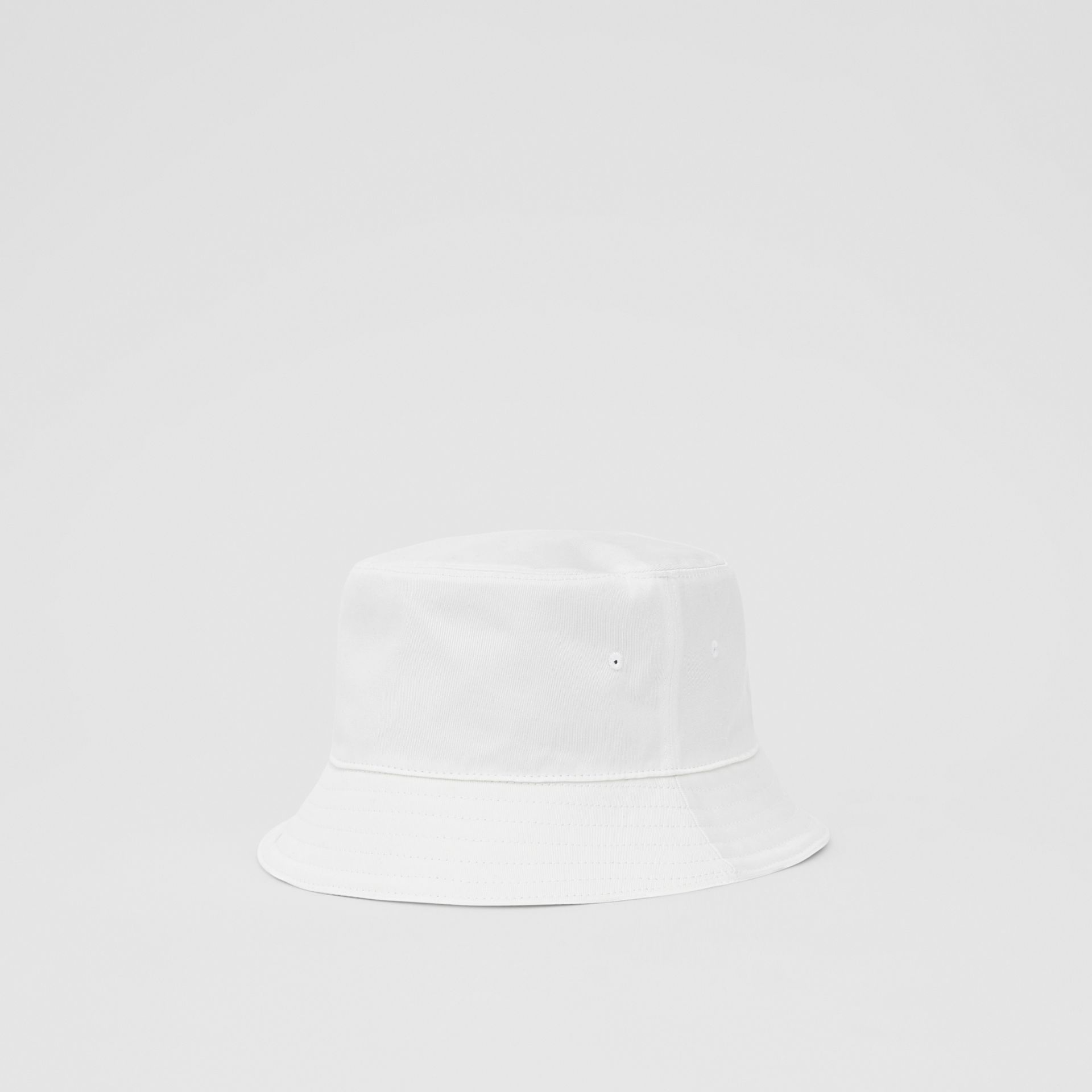 Logo Appliqué Cotton Bucket Hat in White | Burberry United States - gallery image 7