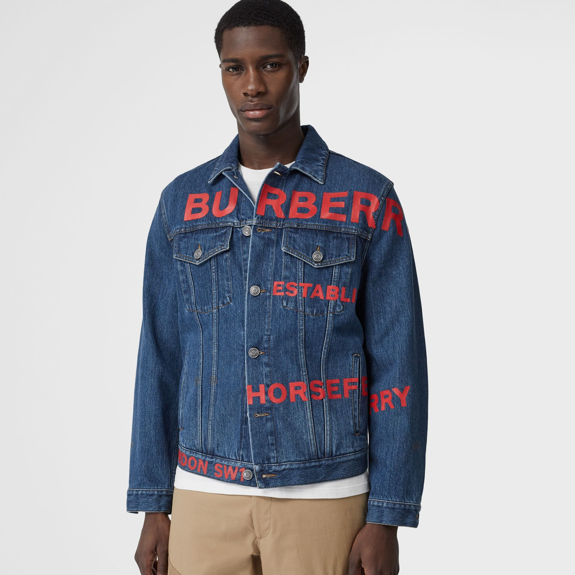 Horseferry Print Japanese Denim Jacket in Mid Indigo Blue - Men | Burberry - gallery image 4