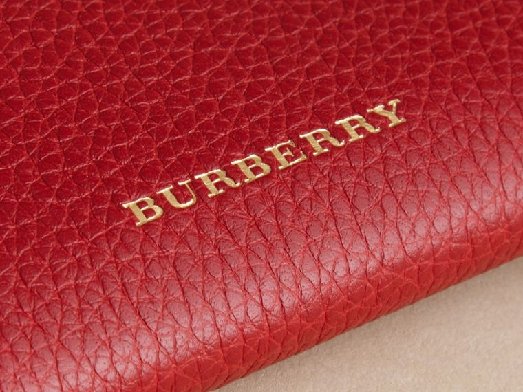 Grainy Leather Travel Case in Parade Red - Women | Burberry - cell image 1