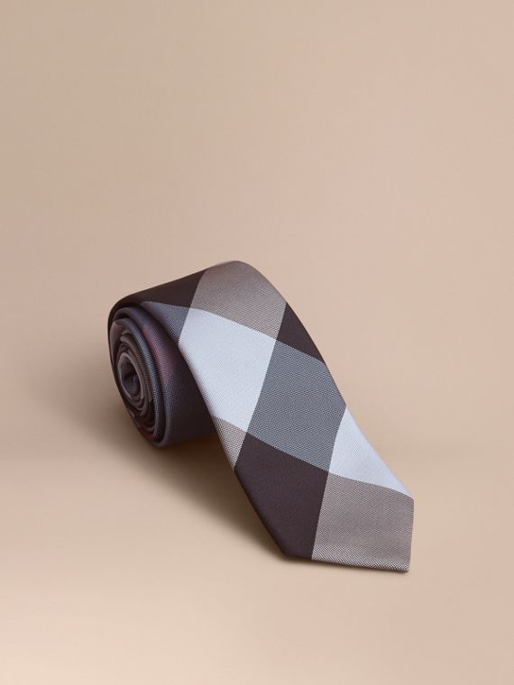 Modern Cut Check Silk Tie in Powder Blue