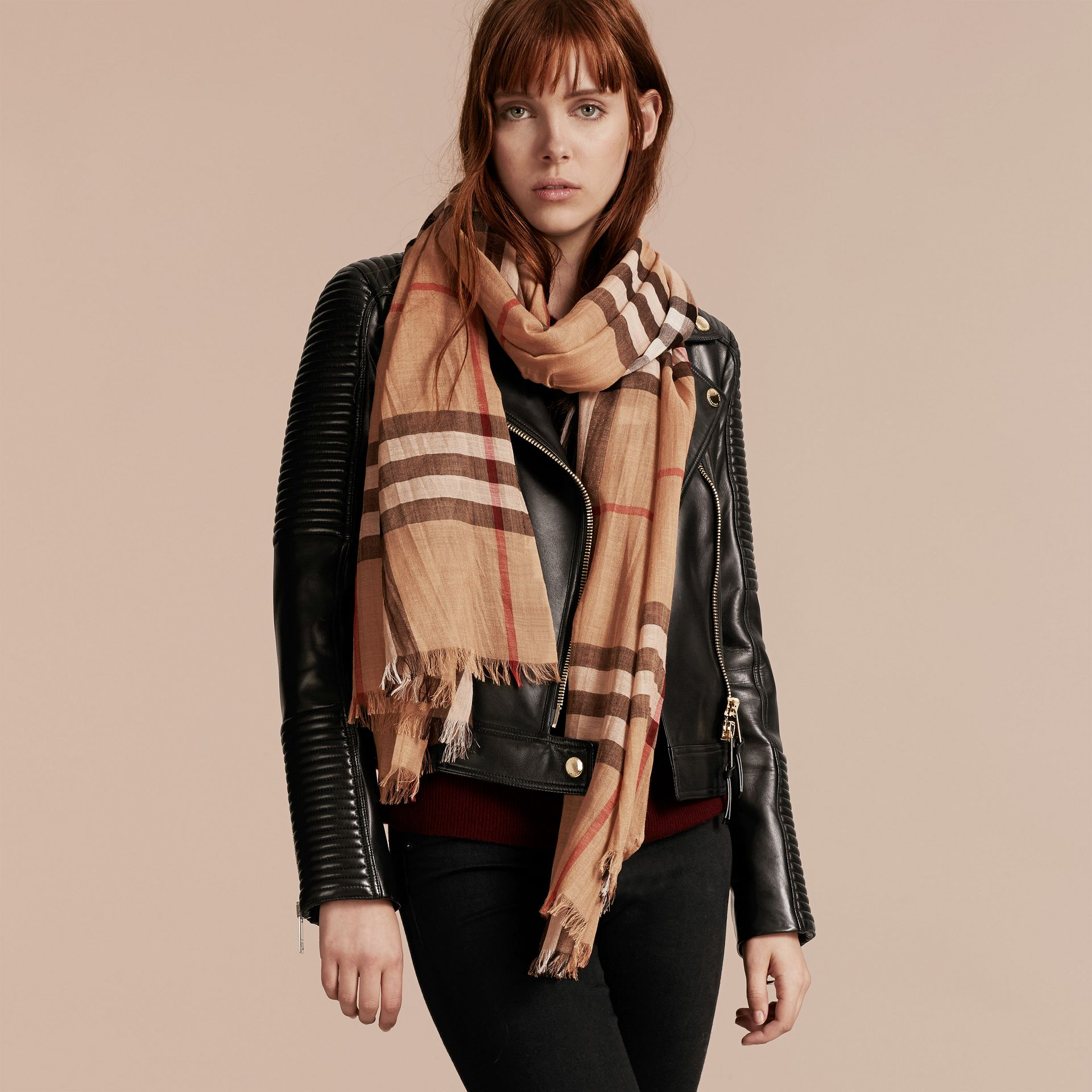 Lightweight Check Wool and Silk Scarf in Camel | Burberry - gallery image 3