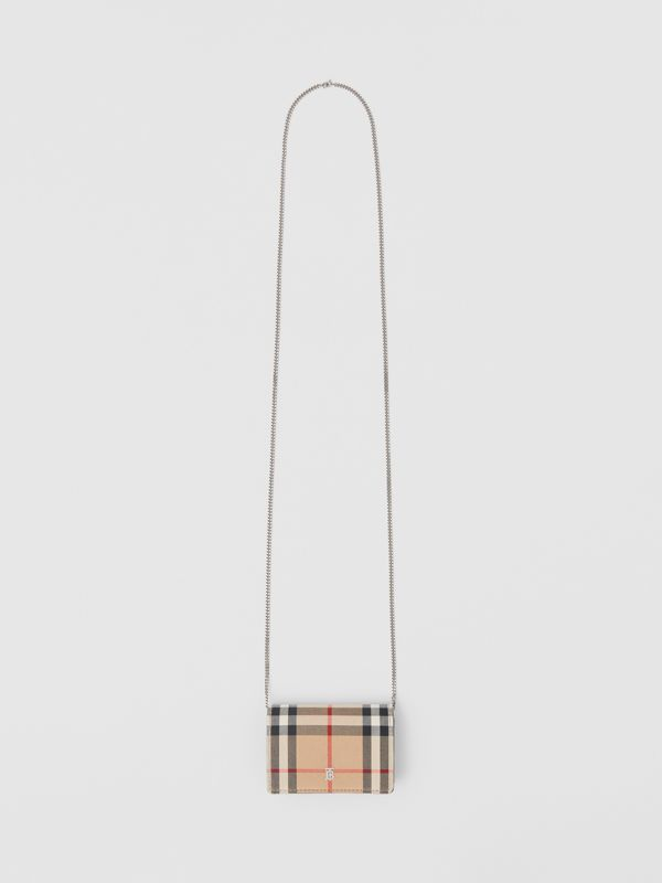 Vintage Check Card Case with Detachable Strap in Black - Women | Burberry - cell image 3