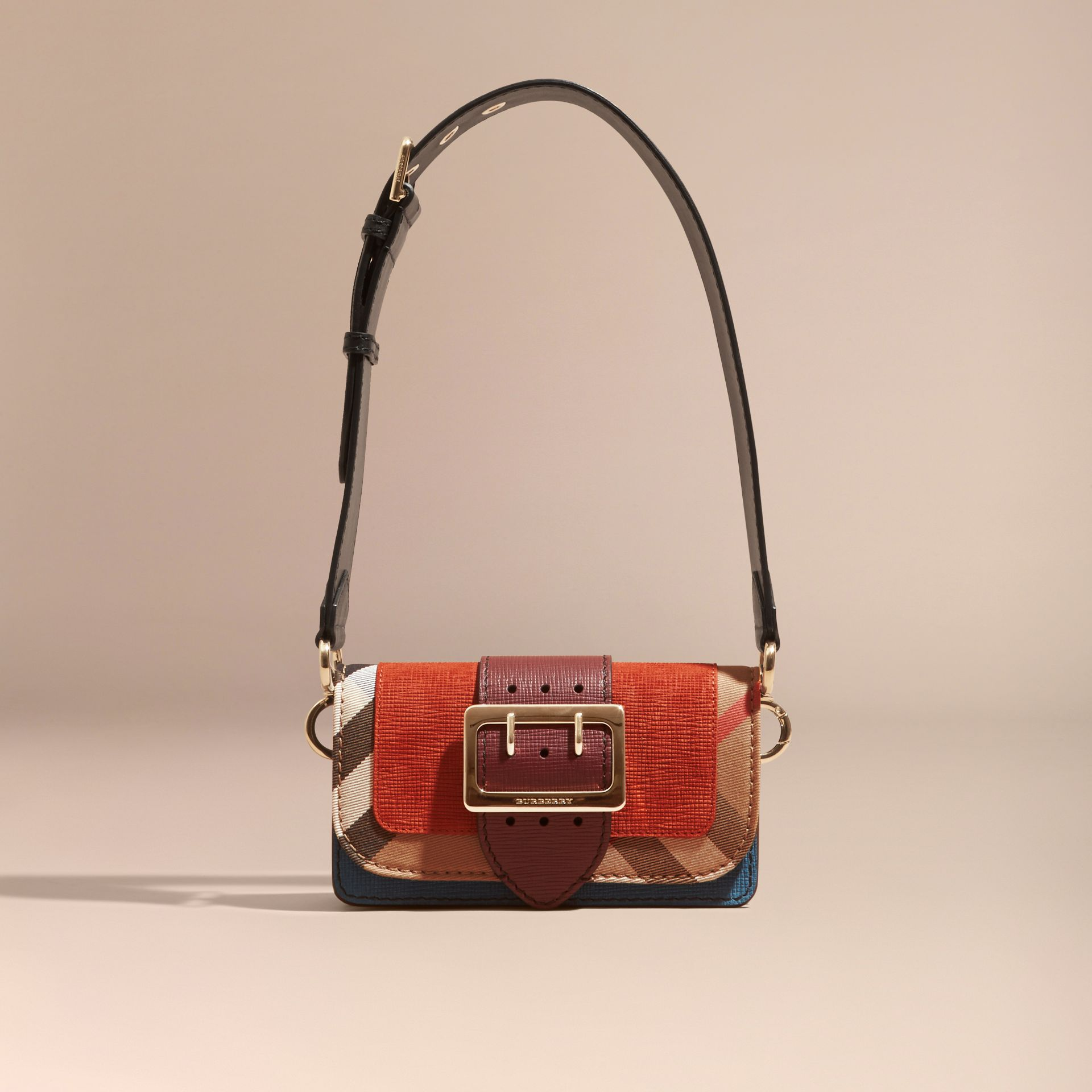Burnt sienna The Small Buckle Bag in Suede and House Check Burnt Sienna - gallery image 9