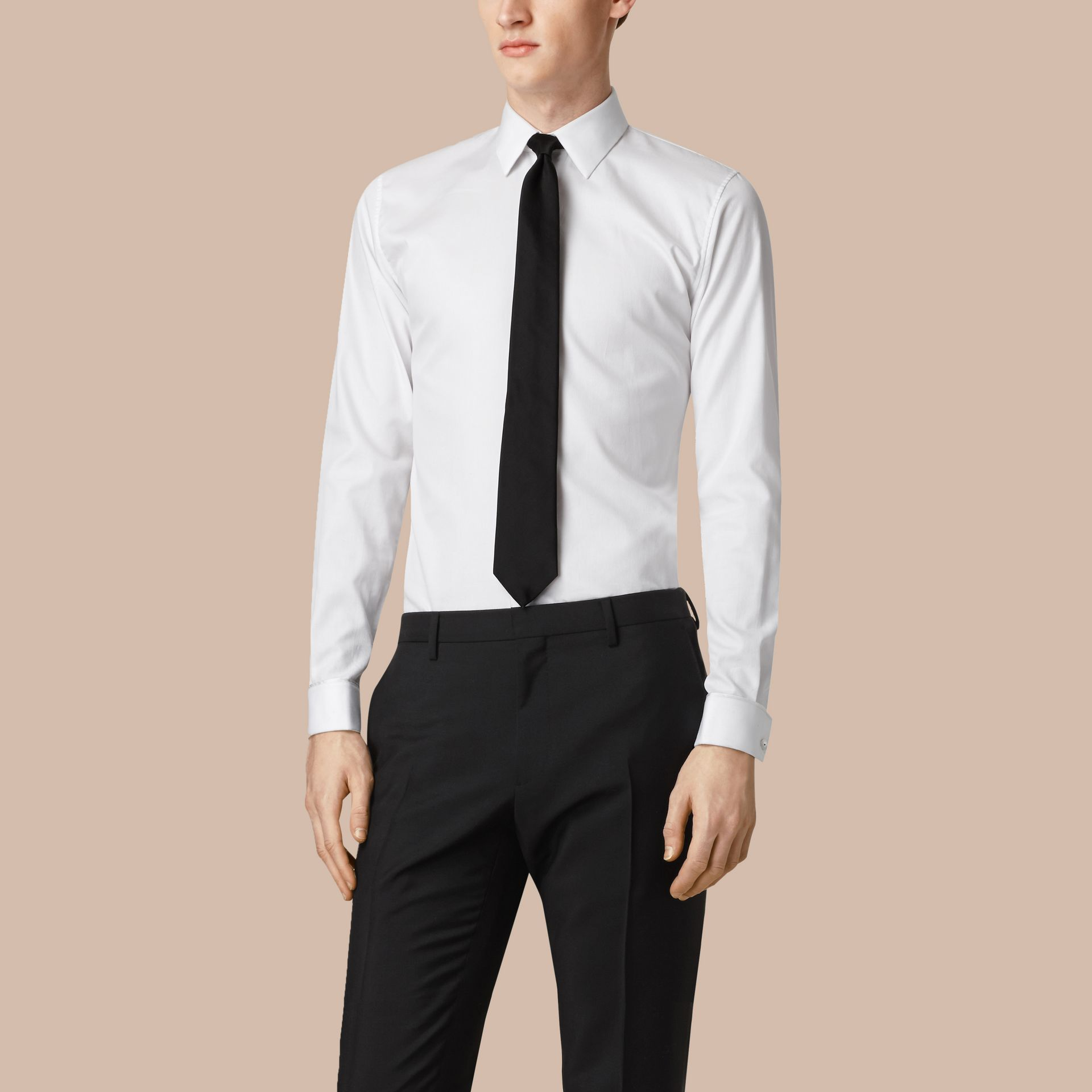 Slim Fit Double-cuff Cotton Dress Shirt in White - Men | Burberry United States - gallery image 0