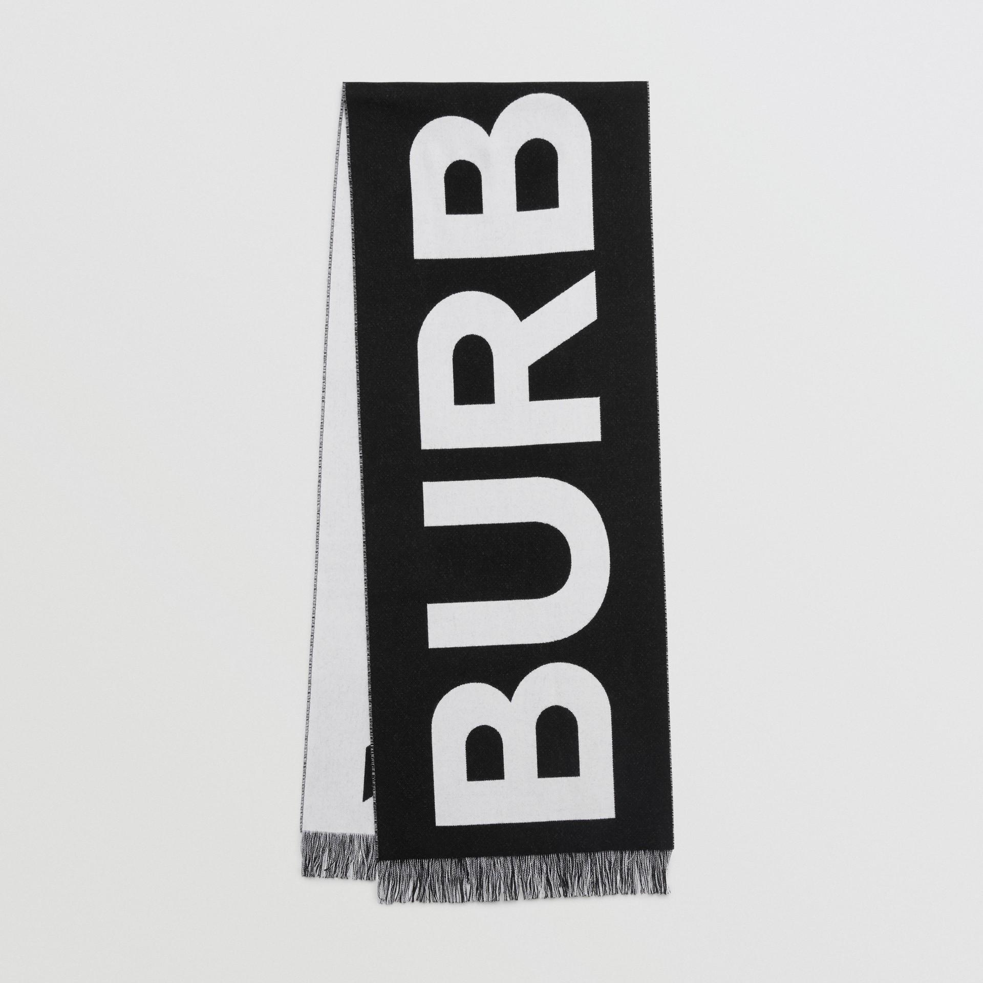 Cachecol em lã com logotipo (Preto/branco) | Burberry - galeria de imagens 0