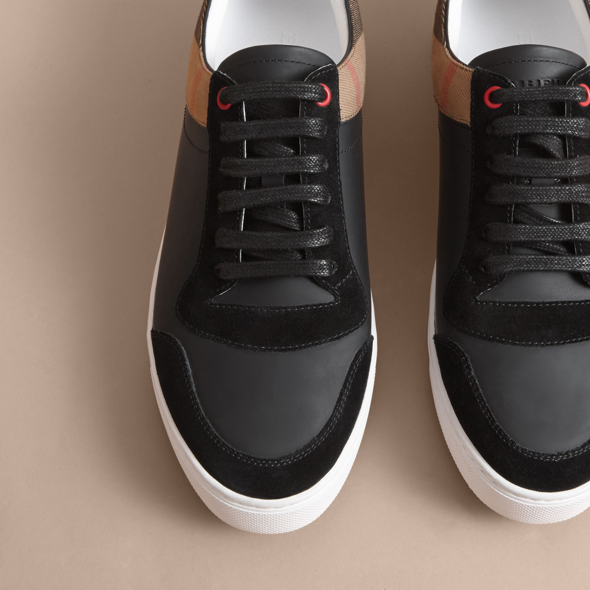 Leather and House Check Trainers Black - gallery image 5