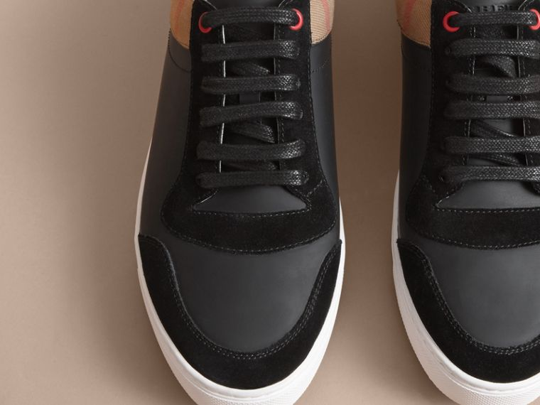 Leather and House Check Trainers Black - cell image 4