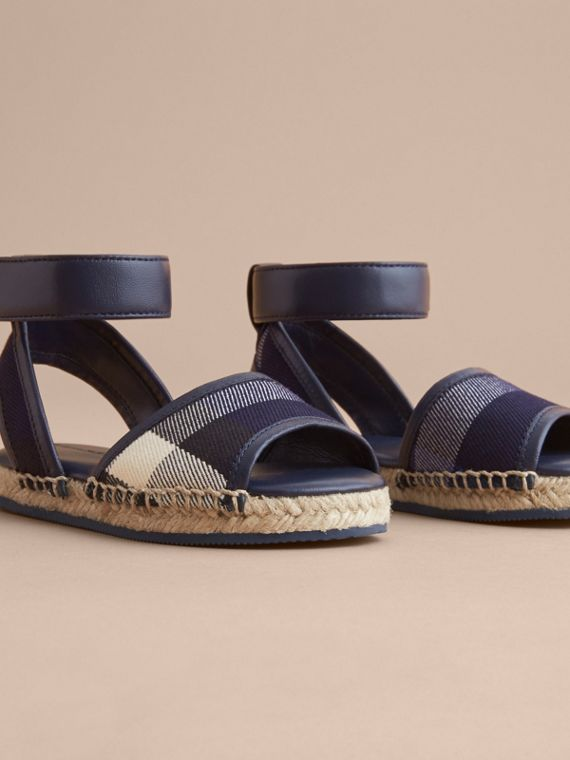 Leather Ankle Strap and House Check Espadrille Sandals in Bright Sapphire - Children | Burberry - cell image 2