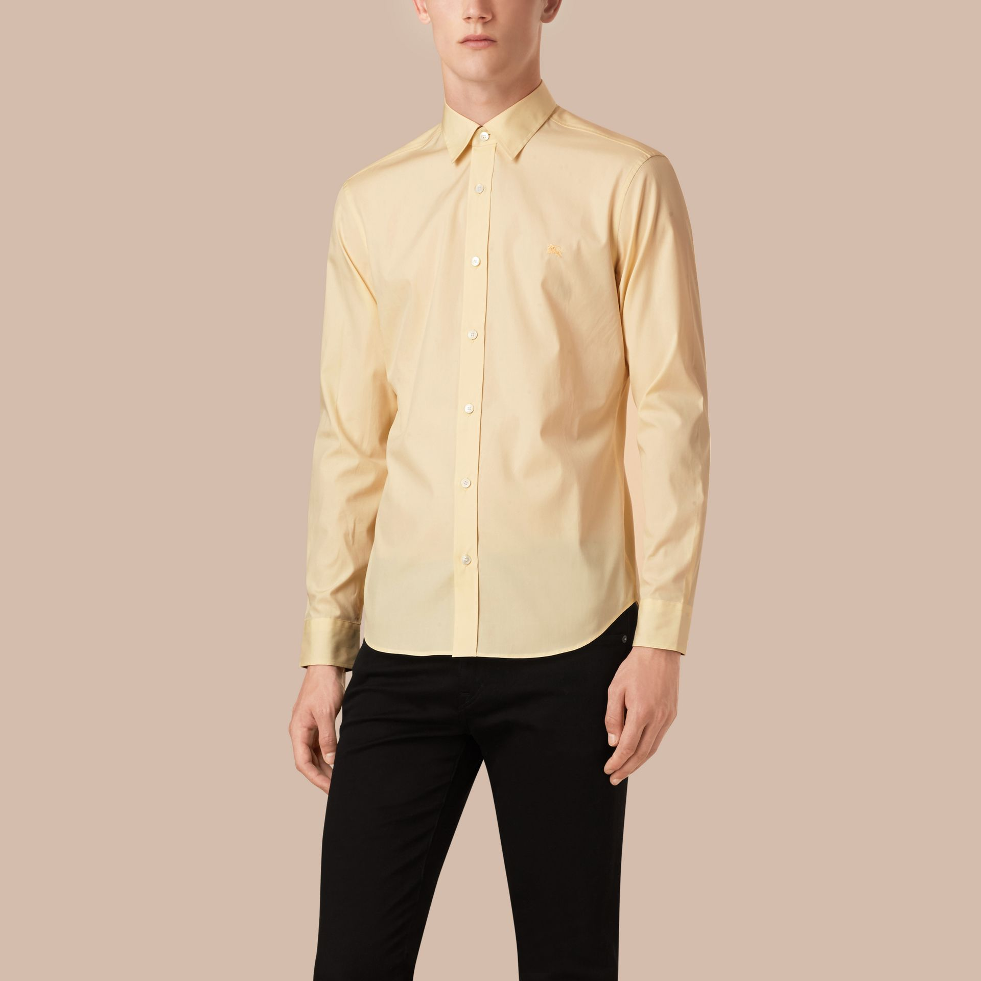 Pale yellow Check Detail Stretch Cotton Poplin Shirt Pale Yellow - gallery image 1