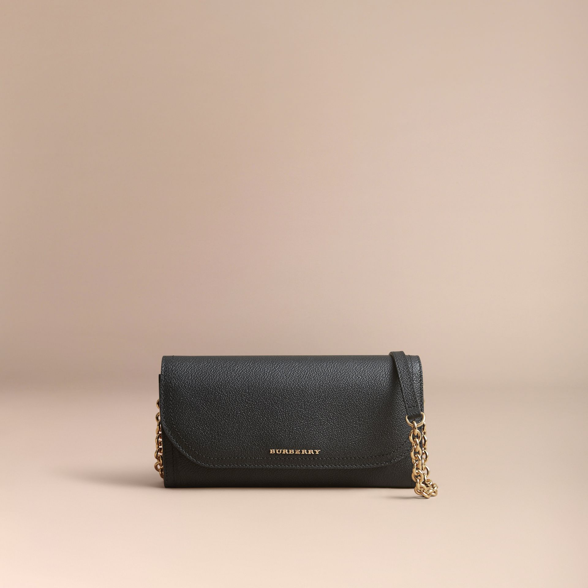 Leather Wallet with Chain in Black - Women | Burberry - gallery image 8