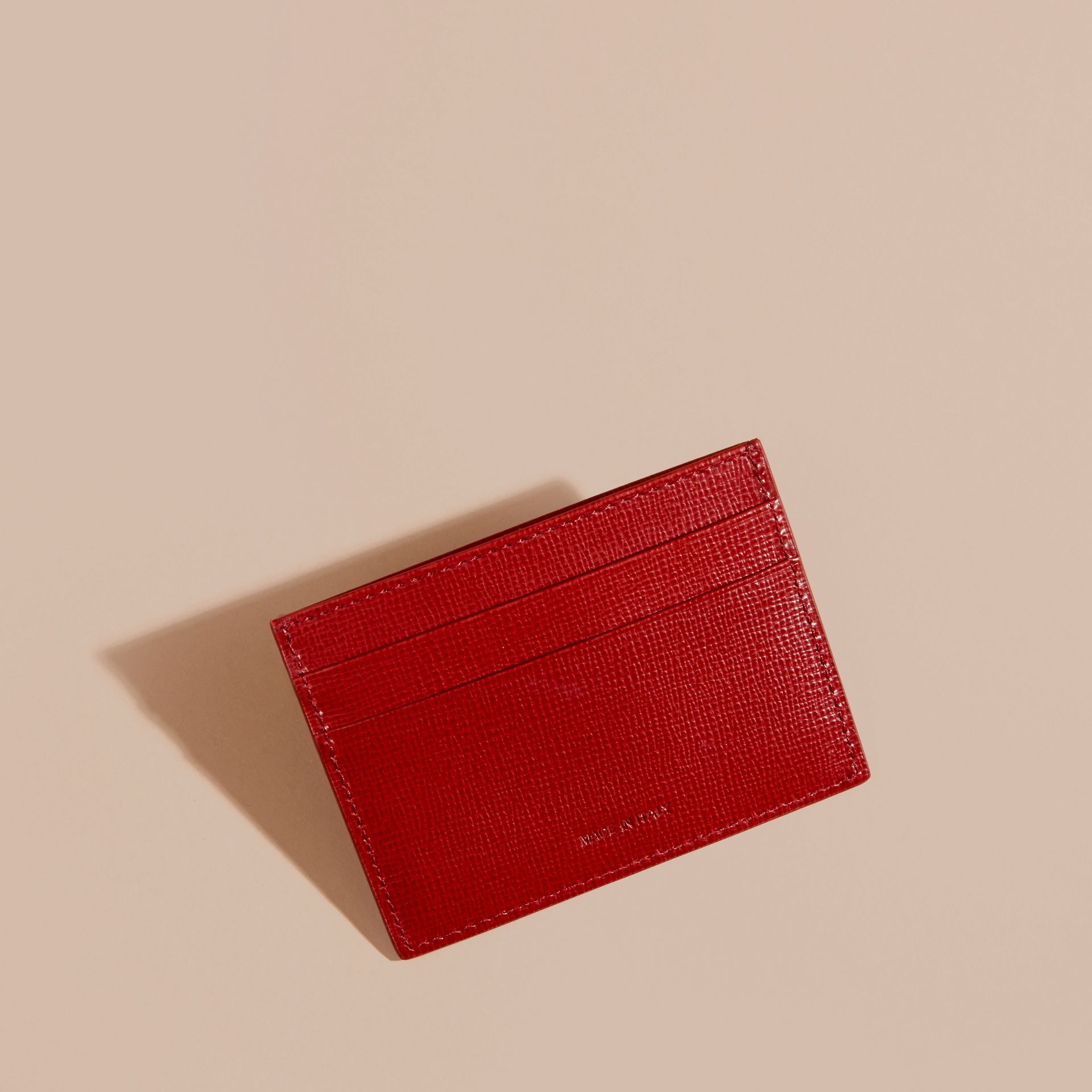 Dark military red London Leather Card Case - gallery image 4