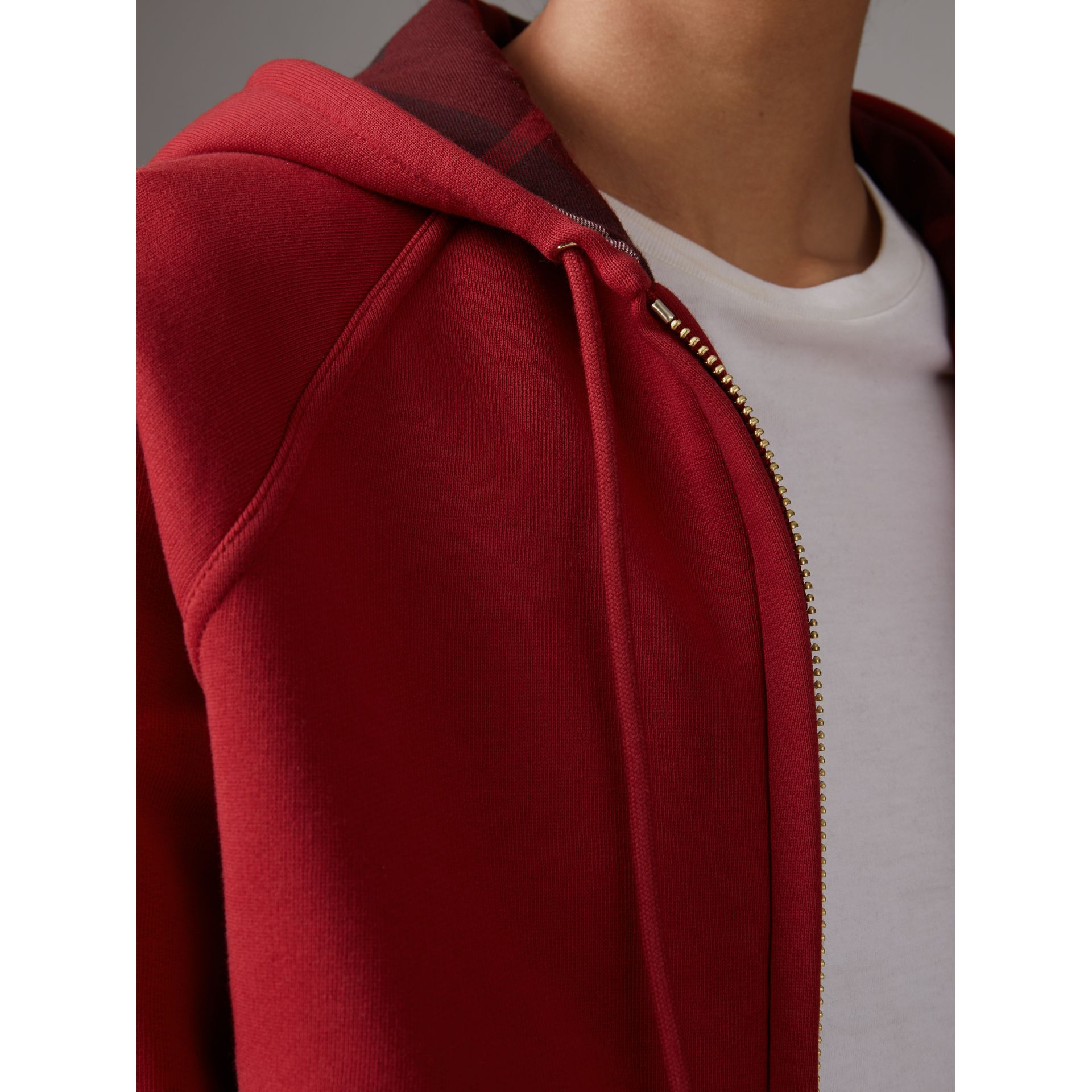 Hooded Zip-front Cotton Blend Sweatshirt in Parade Red - Women | Burberry Singapore - gallery image 2
