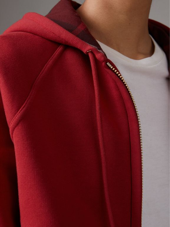 Hooded Zip-front Cotton Blend Sweatshirt in Parade Red - Women | Burberry - cell image 1
