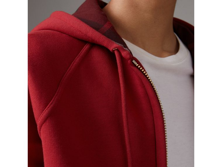 Hooded Zip-front Cotton Blend Sweatshirt in Parade Red - Women | Burberry Singapore - cell image 1