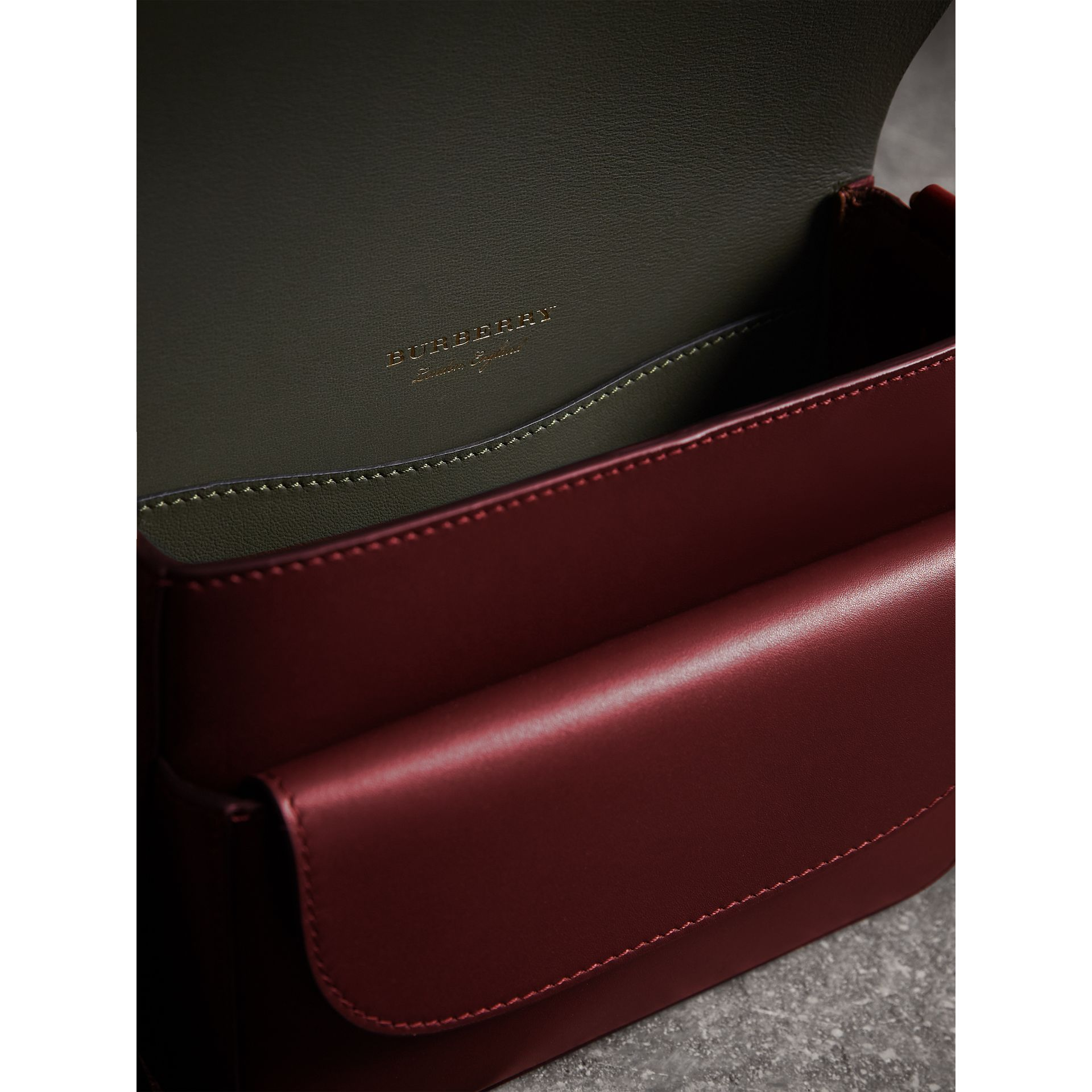 The Square Satchel in Bridle Leather in Deep Claret - Women | Burberry United Kingdom - gallery image 4