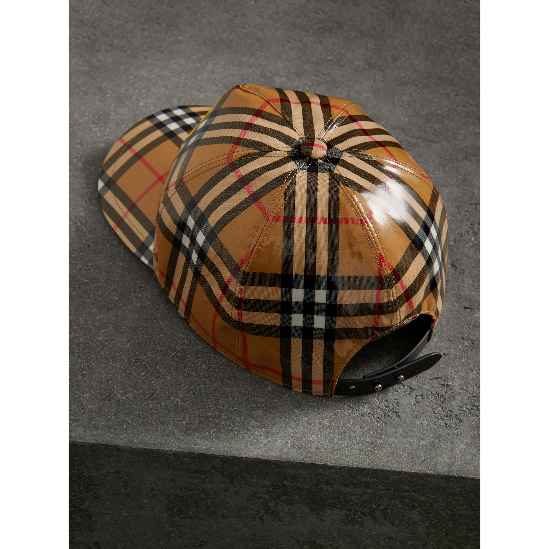Archive Logo Coated Vintage Check Baseball Cap in Antique Yellow | Burberry Australia - gallery image 4