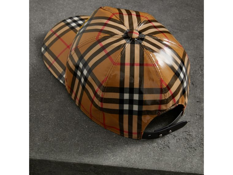 Archive Logo Coated Vintage Check Baseball Cap in Antique Yellow | Burberry - cell image 4