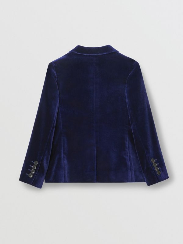 Velvet Double-breasted Blazer in Midnight Blue | Burberry - cell image 3