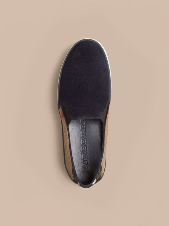 Navy Canvas Check and Suede Slip-on Trainers Navy - cell image 2