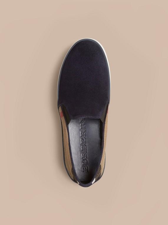 Navy Sneaker senza lacci con motivo Canvas check e pelle scamosciata Navy - cell image 2