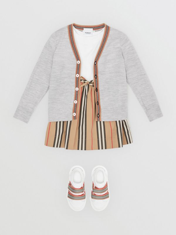 Icon Stripe Detail Merino Wool Cardigan in Light Grey Melange - Children | Burberry - cell image 2