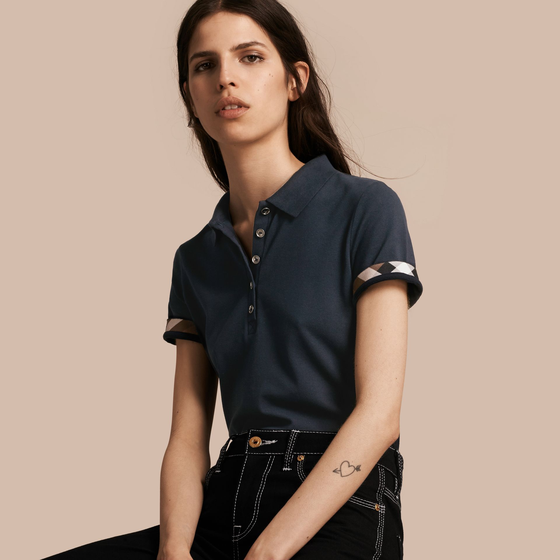 Check Trim Stretch Cotton Piqué Polo Shirt in Navy - Women | Burberry - gallery image 1